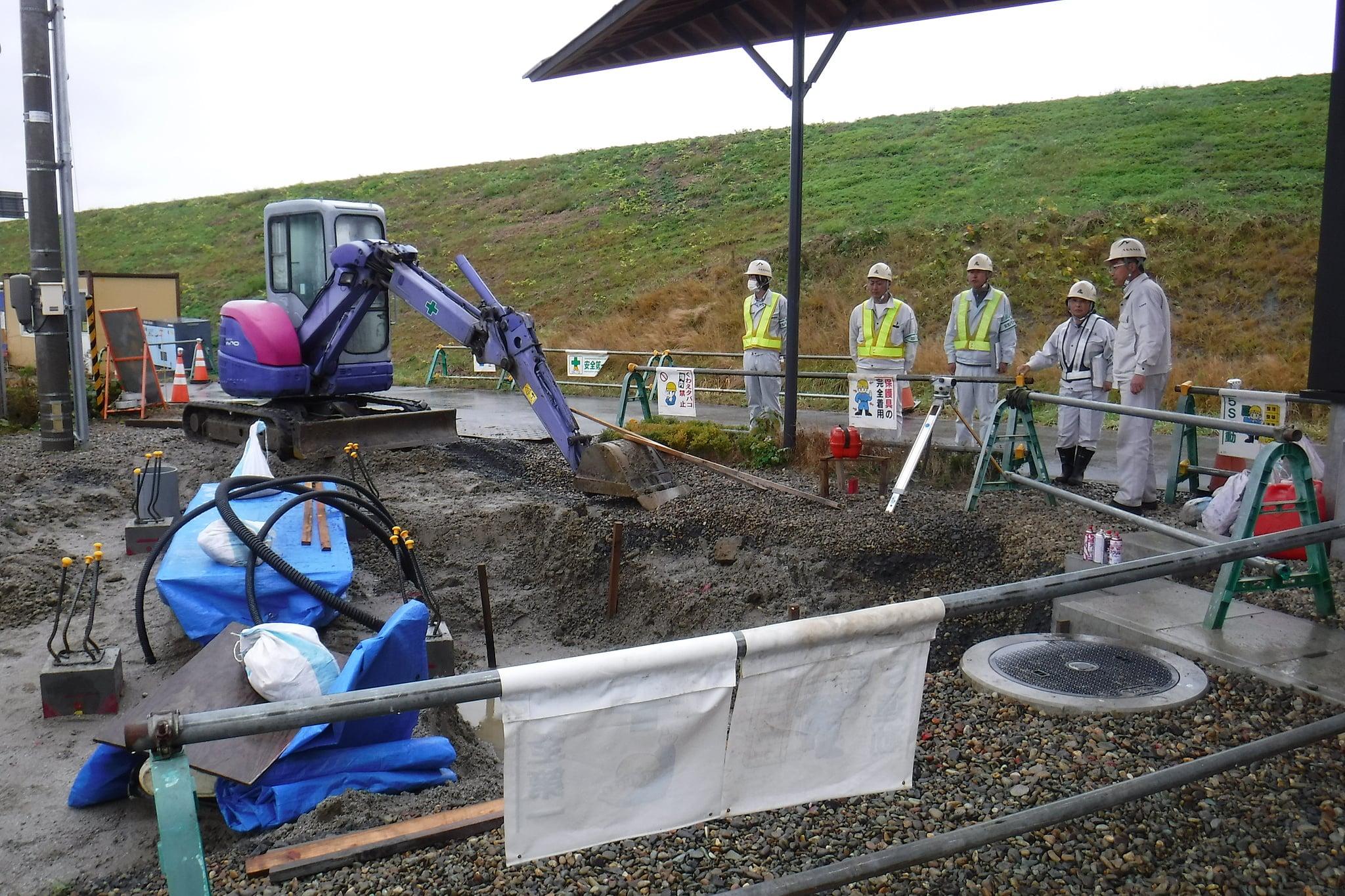 道の駅平泉地下タンク設備設置工事 作業箇所確認