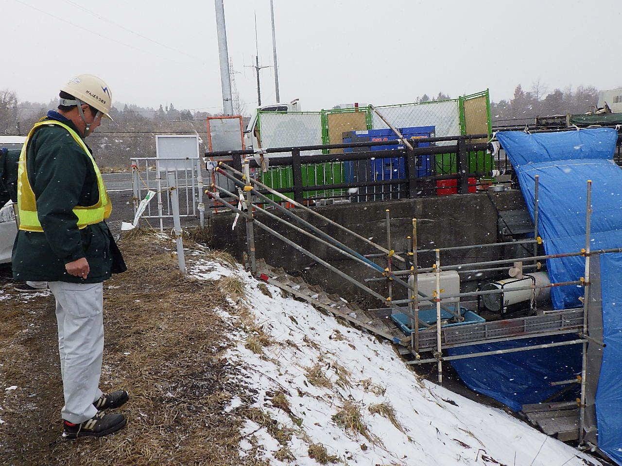 維持補修工事 前沢白鳥橋橋台補強 作業状況確認