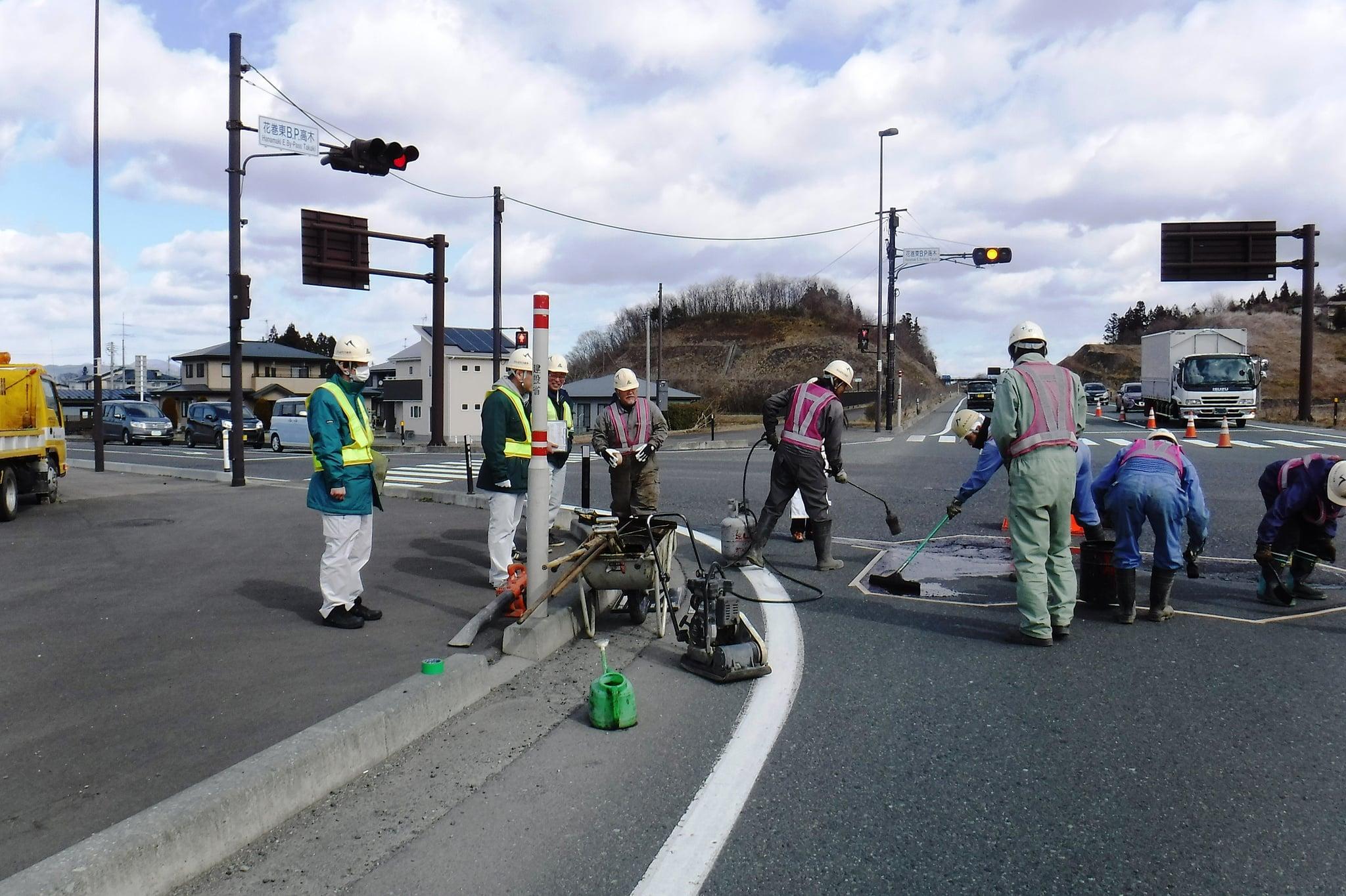 維持補修工事 花巻路面補修 作業状況確認