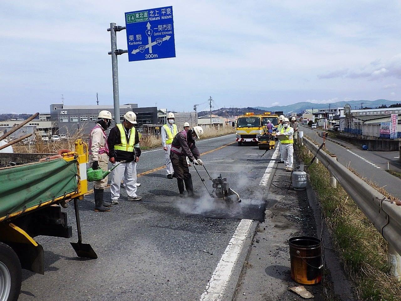 維持補修工事 一関路面補修 作業状況確認