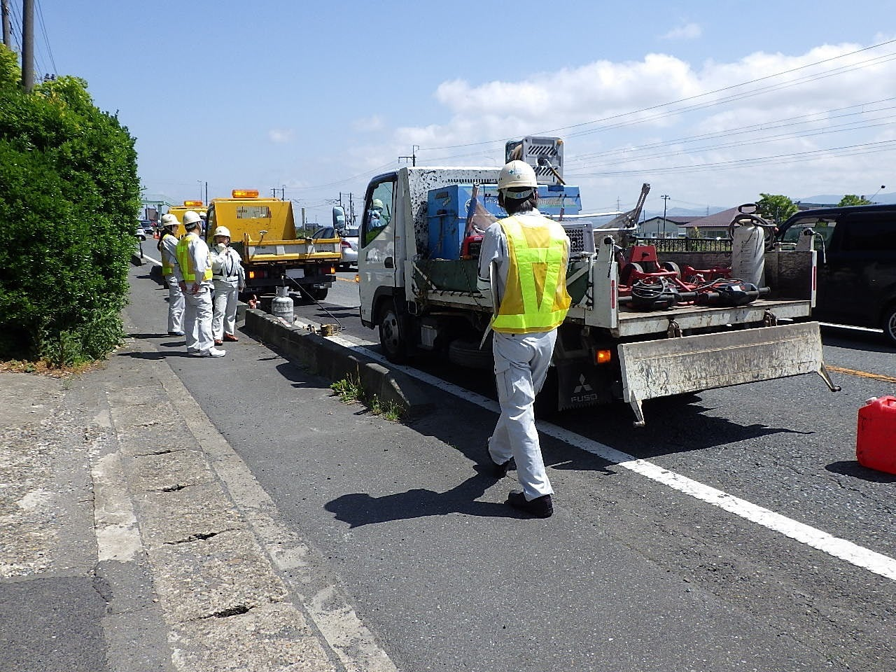 維持前沢路面補修 作業状況確認